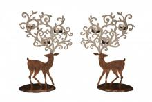 Deco Breeze HOL5516 - Candle Holder - Copper Reindeer Assorted