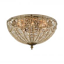 ELK Lighting 15963/8 - Elizabethan 8-Light Flush Mount in Dark Bronze with Clear Crystal
