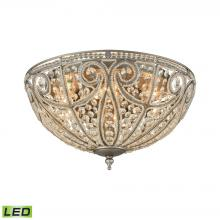 ELK Lighting 15994/6-LED - Elizabethan 6-Light Flush Mount in Weathered Zinc with Clear Crystal - Includes LED Bulbs