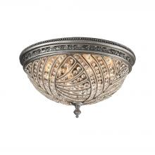 ELK Lighting 16251/6 - Renaissance 6-Light Flush Mount in Weathered Zinc with Crystal