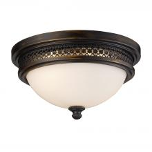 ELK Lighting 20100/2 - Flushmounts 2-Light Flush Mount in Deep Rust with Opal White Glass